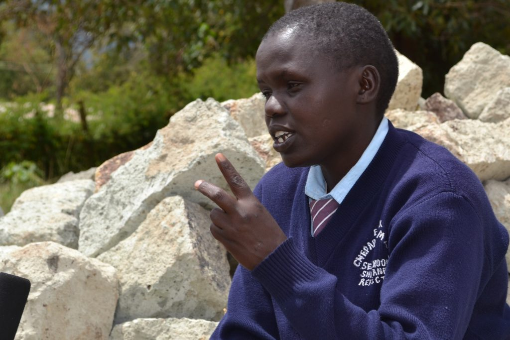 Catherine Pkutor a student at a secondary school in West Pokot narrates her story. Catherine dropped out of school as a teenage mother and wife before returning to school to complete her studies. DSW's advocacy work for family planning investment is intended to help thousands of girls like her in Kenya avoid teenage pregnancy PHOTO: Collins Baswony/DSW