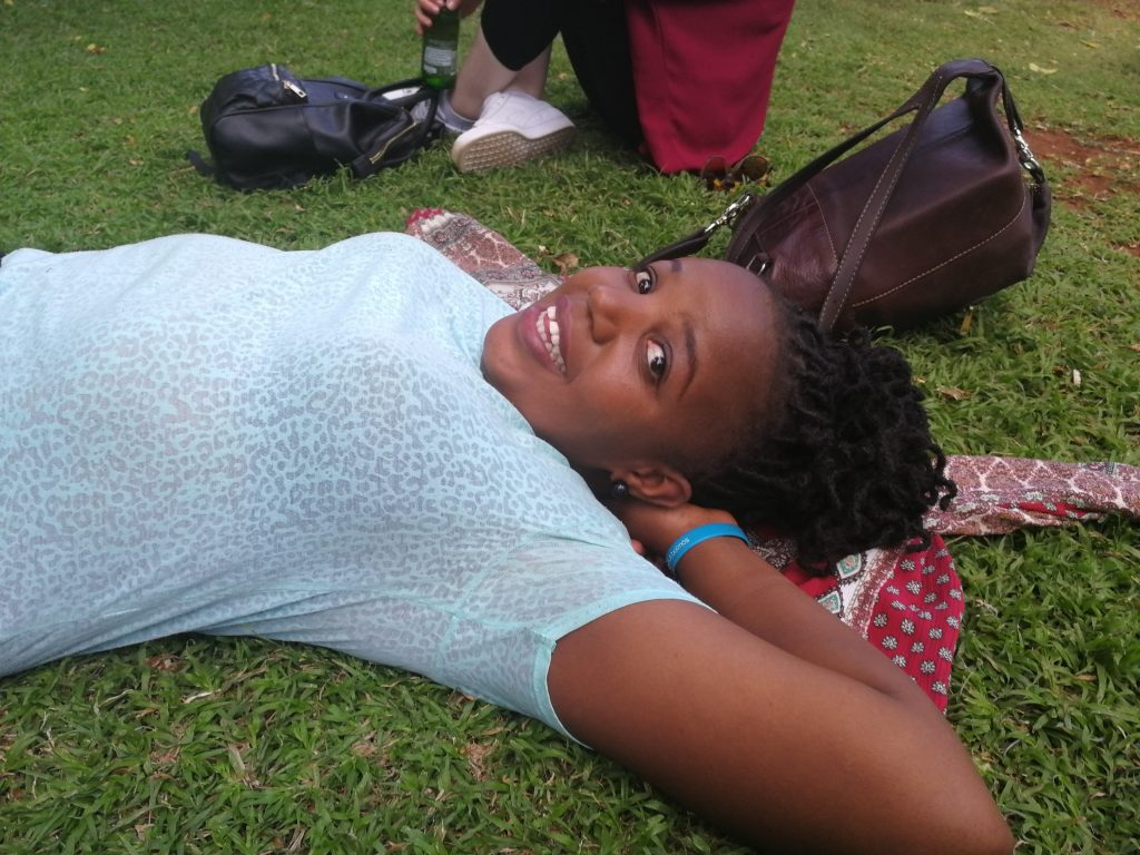 Njeri relaxing in the gardens of Nairobi National Museum