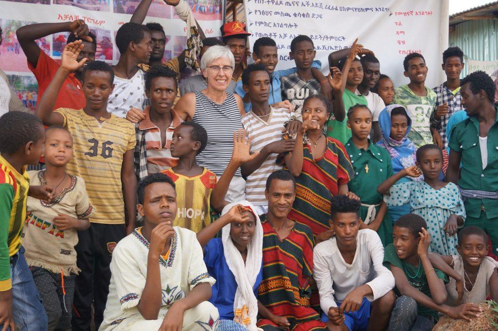 Renate Bähr visiting a DSW Youth Club in Bahir Dar, Ethiopia