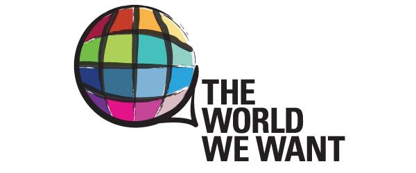 """Logo """"The world we want"""" mit einer gezeichneten Weltkugel und einem Schriftzug"""
