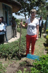 Sylvia von Metzler (Stiftungsrat) pflanzt einen Baum