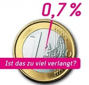 Ein Euro mit einem kleinen pinken Balken, der 0,7 Prozent darstellt