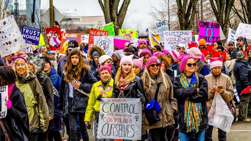 Protestierende für Frauenrechte beim Women's March on Washington am 21. Januar 2017