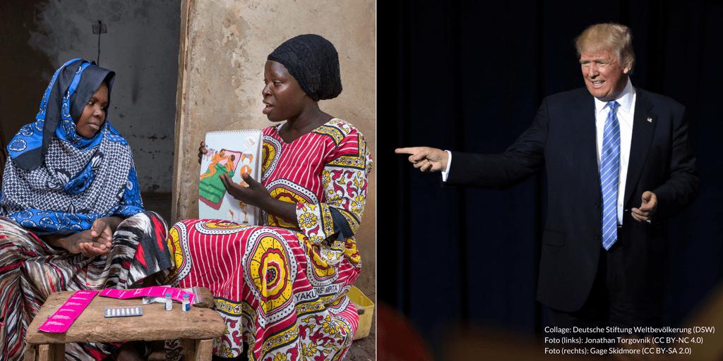 Collage: Zwei Frauen sprechen über Möglichkeiten der Familienplanung (links); Donald Trump spricht bei einer Veranstaltung in den USA (rechts)