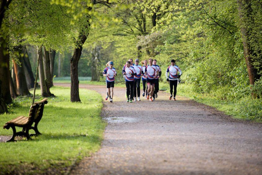 Eine Gruppe von Läufern auf einem Waldweg