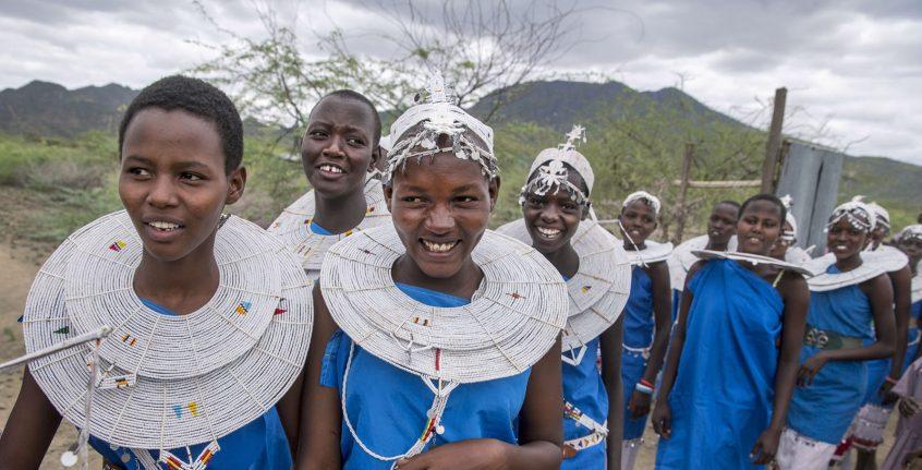 Massai-Schülerinnen der Shompole Schule im südlichen Kenia.