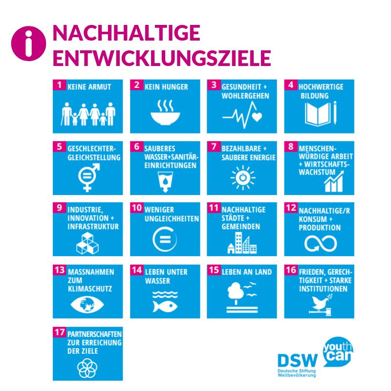 Die Nachhaltigen Entwicklungsziele (Sustainable Development Goals, SDG's) der Vereinten Nationen.
