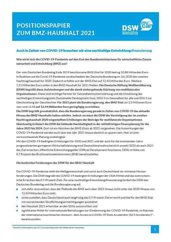 Vorschaubild Positionspapier BMZ Haushalt 2019